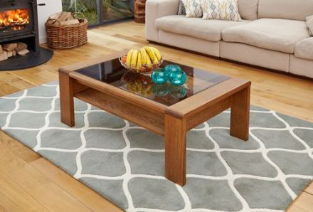 Olten Dark Oak Glazed Coffee Table with Shelf